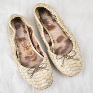 Sam Edelman Tan Faux Snakeskin Flats, Size 6-1/2